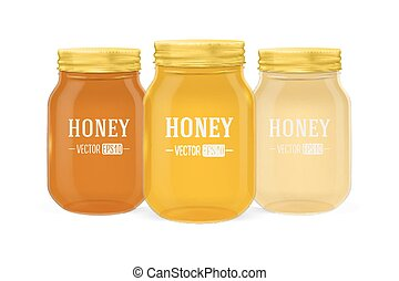 Vector realistic glass jar of honey set with golden lid closeup isolated on white background. Design template for advertise, branding, mockup. EPS10.