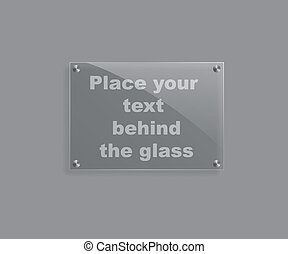 Vector realistic glass plate isolated on grey background.
