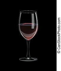 Vector realistic glass with red wine.