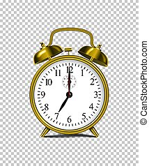 Vector realistic golden alarm clock isolated on transparent background.