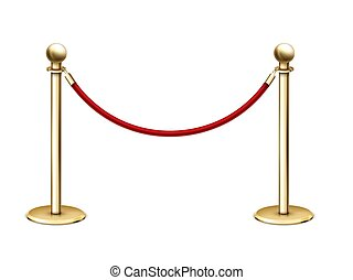 Vector realistic golden barrier rope barrier with red velvet rope.