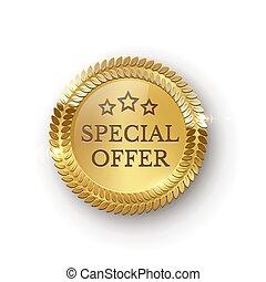 Vector realistic golden medallion special order