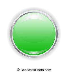 Vector realistic green plastic button with patch of light and metal frame isolated