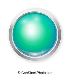 Vector realistic green shiny plastic button with patch of light and metal elements