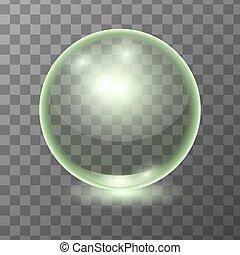 Vector realistic green transparent glass ball