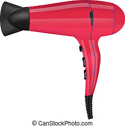hair dryer - vector realistic hair dryer on white...