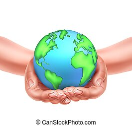 Vector realistic hands holding earth planet eco