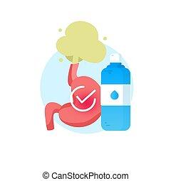 Illustration about Gastroesophageal reflux disease. Water fluid.