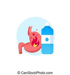 Vector realistic human stomach icon with water -...