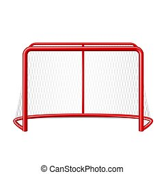 Vector realistic ice hockey goal with net