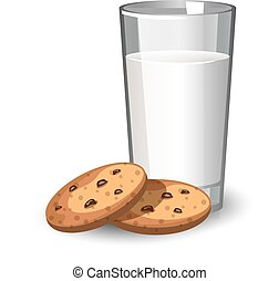 Glass of milk and cookies.