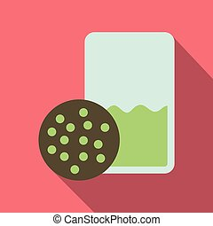 Vector realistic illustration of a glass of milk and cookies. Colorful objects