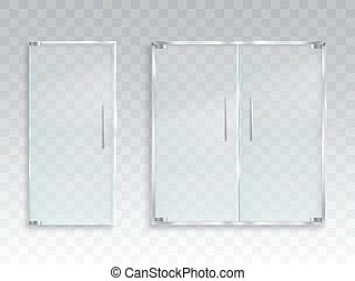Vector realistic illustration of a layout of an entrance glass door with metal handles