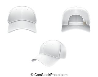 Vector realistic illustration of a white textile baseball cap front, back and side view