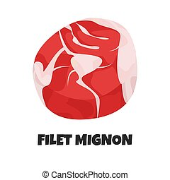Vector Realistic Illustration of Filet Mignon. Slice of ...