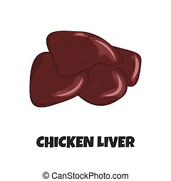 Vector Realistic Illustration of Raw Chicken Liver