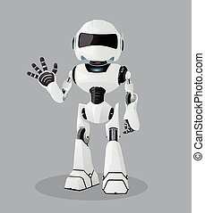Vector realistic illustration of the white robot. One hand up.
