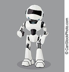 Vector realistic illustration of the white robot. Robot full of enthusiasm.