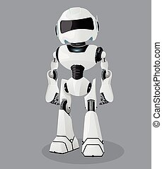Vector realistic illustration of the white robot. Vector robot.