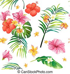Vector realistic illustration, seamless pattern with tropical hibiscus flowers and palm leaves