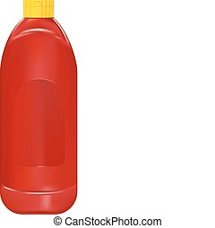 ketchup bottle - vector realistic ketchup bottle on white ...