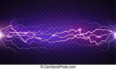 Vector realistic lightning isolated on dark transparent...