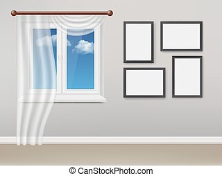 Vector realistic living room with white plastic window and curtains