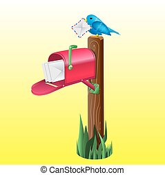 Vector realistic mailbox and a bird