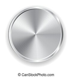 Vector realistic metal grey button for domestic electronics