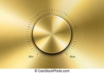 Vector Realistic Metallic Golden Knob. Design Template of Metal Gold Textured Circle Button Closeup. Circular Processing, Power Volume Playback Control, Mininmum, Maximum. Stock Vector Illustration
