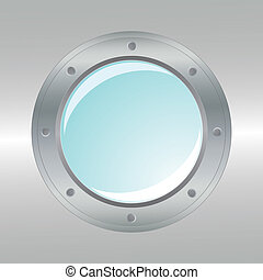 Vector realistic metallic porthole