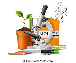 Vector realistic microscope green plant in pot