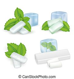 Vector realistic mint chewing gum icon set