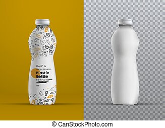 Vector realistic mockup plastic curved bottle for juice,...