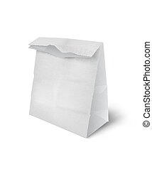 Vector realistic mockup white paper shopping bag