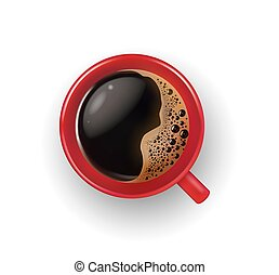 Vector realistic red cup, mug of brown coffee with foam bubbles top view closeup. Hot beverage, drink in white ceramic, porcelain cup. Business, morning symbol, isolated illustration, whie background