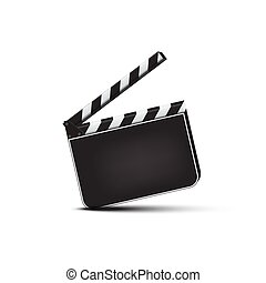 Vector realistic opened blank clapperboard isolated on white background.