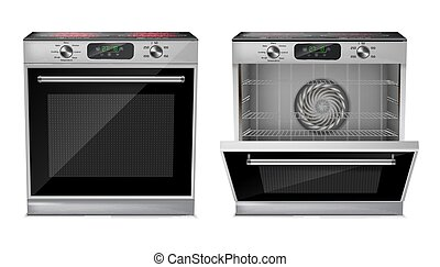 Vector realistic oven with induction cooktop