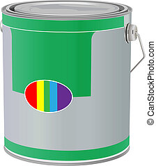 paint can - vector realistic paint can on white background