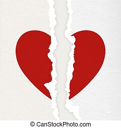 Vector Realistic Paper Textured Torn Heart Closeup Isolated on White Background. Broken Heart, Divorce, Valentines Day, Relationship Concept. Paper Art.