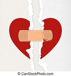 Vector Realistic Paper Textured Torn Heart with Medical Patch Closeup Isolated on White Background. Broken Heart, Divorce, Valentines Day, Relationship Concept. Paper Art.