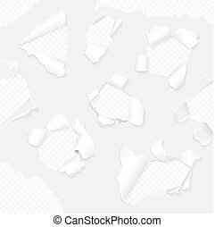 Vector realistic paper with ripped edges collection. White torn paper set.