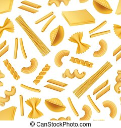 Vector realistic pasta types pattern or background illustration