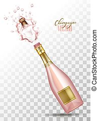 vector realistic pink champagne explosion - Realistic pink ...