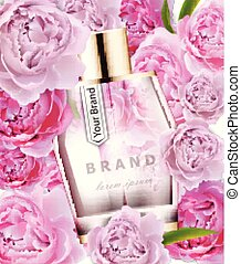 Vector realistic pink perfume bottle mock up. Product packaging detailed cosmetic. Peonies flowers background illustrations