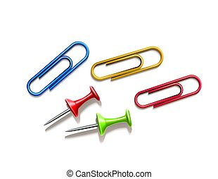 Vector realistic pins and colored paper clips set