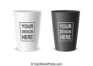 Vector realistic plastic cup. Example for office supplies, drinks, icon set. Closeup isolated on white background. Design template, clipart or mockup for graphics - web, app. Front view