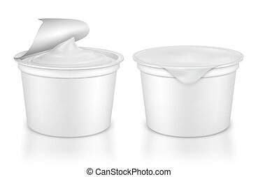 Vector realistic plastic packages with yogurt.