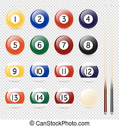 Vector realistic pool - billiard balls and cue closeup isolated on transparent background. Design template in EPS10.