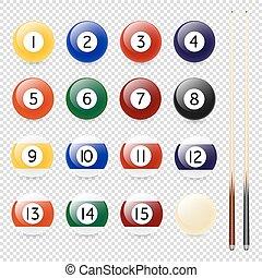Vector realistic pool - billiard balls and cue closeup...